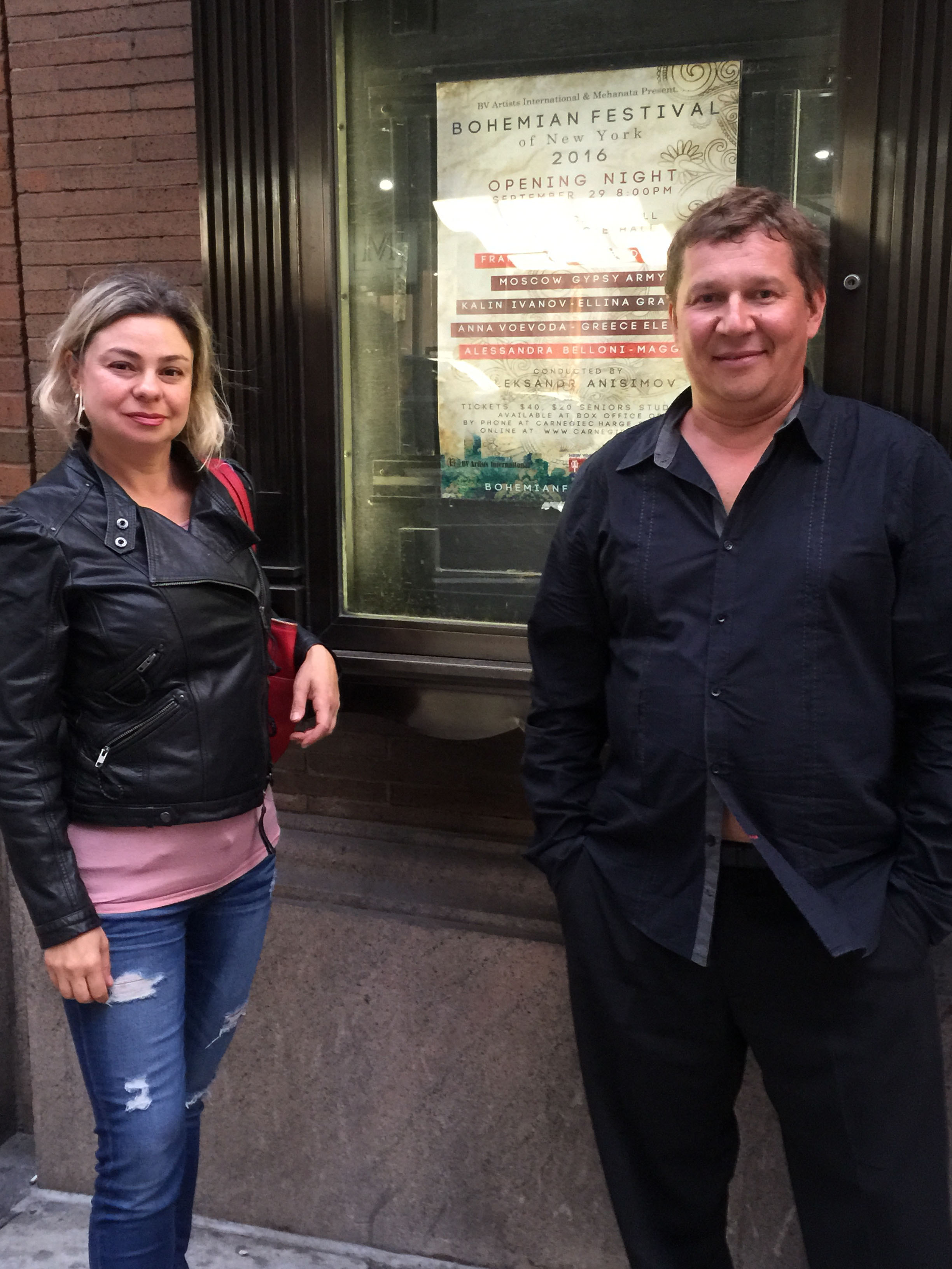 Elina Karokhina and Mikhail Smirnov before the concert at the Carnegie Hall in New York City
