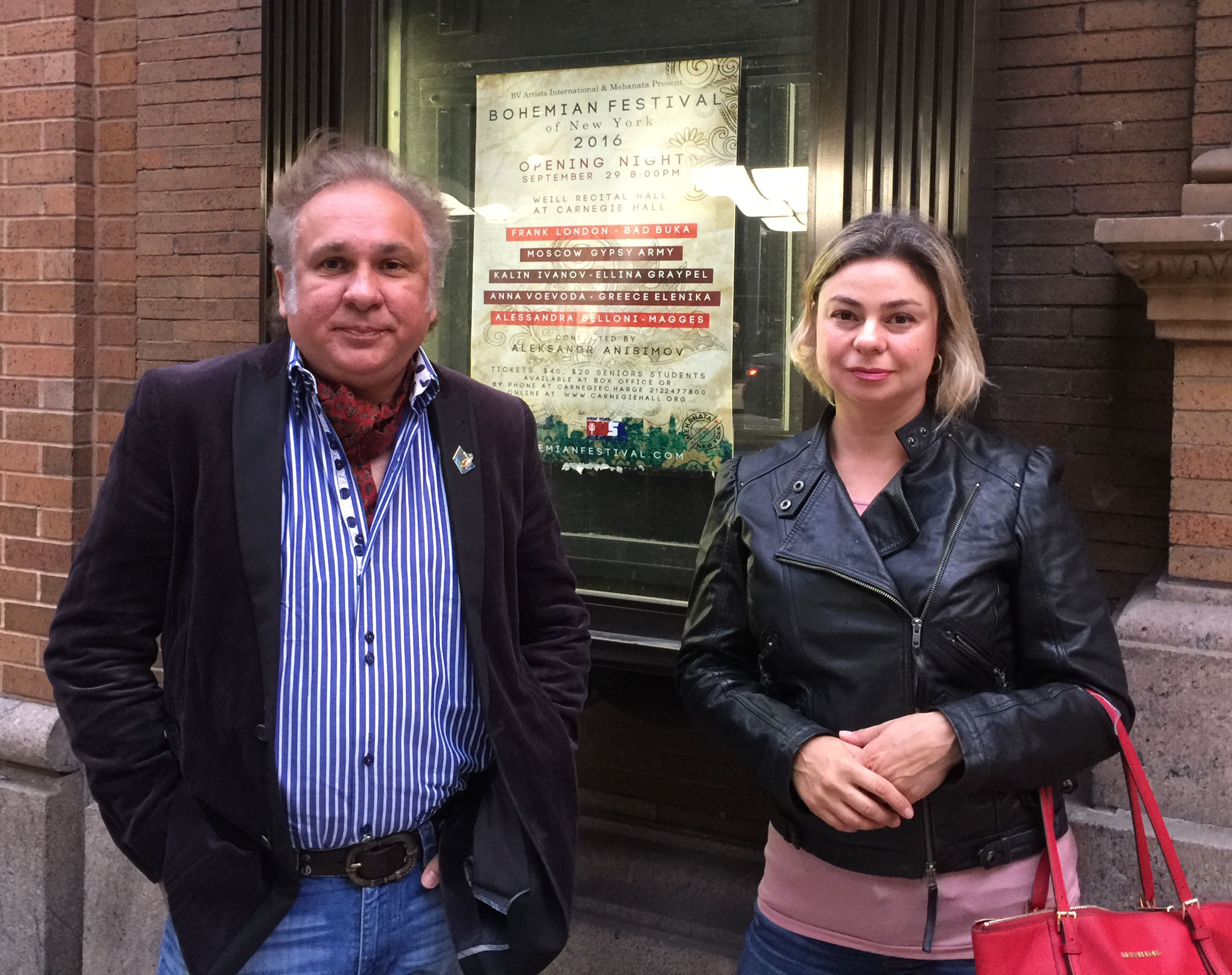 Vasily Yankovich-Romani and Elina Karokhina before the concert at the Carnegie Hall in New York City