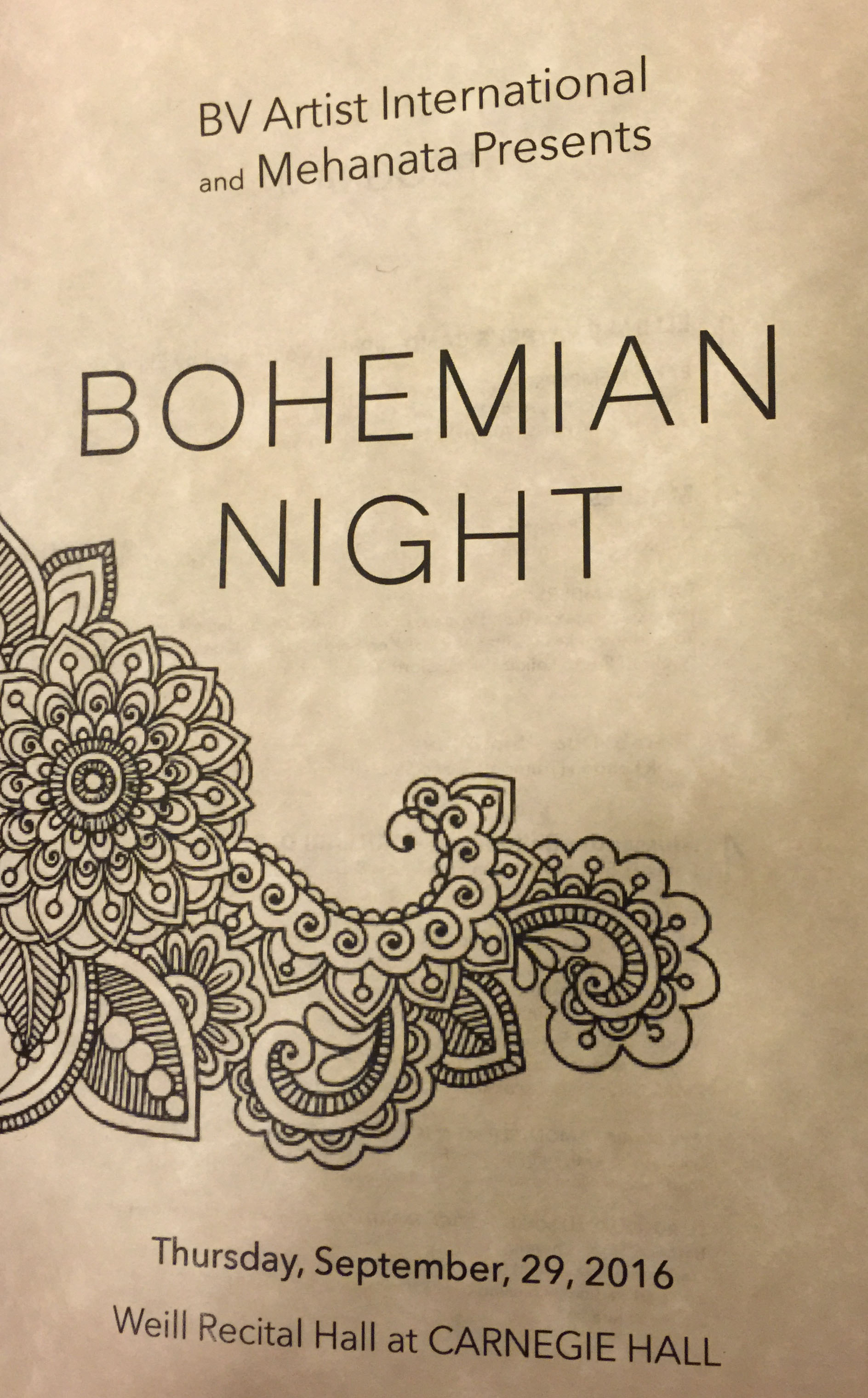 Printed program of the Bohemian Festival in Carnegie Hall in New York City